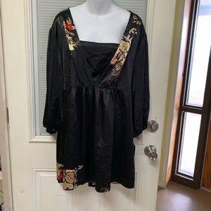 APOSTROPHE Women 20w 22w Black Floral Shirt Tunic